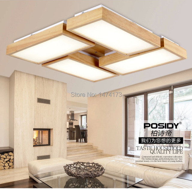 Newest home wood living room ceiling lights LED New ...