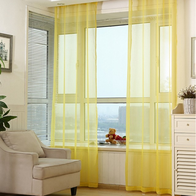 Rainbow Colors Solid Sheer Panels Door Window Curtains Drapes Voile Curtain For Home Decor Living Room Bedroom Kitchen AP184 20