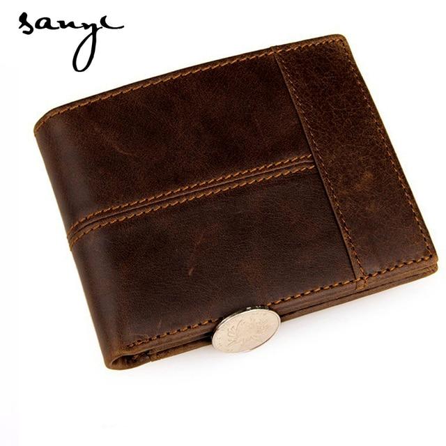 SANYI 100% Top Genuine Cow Leather Men Wallets Fashion Splice Purse  Zipper Wallets Dollar Carteira Masculina Men Coin Wallets