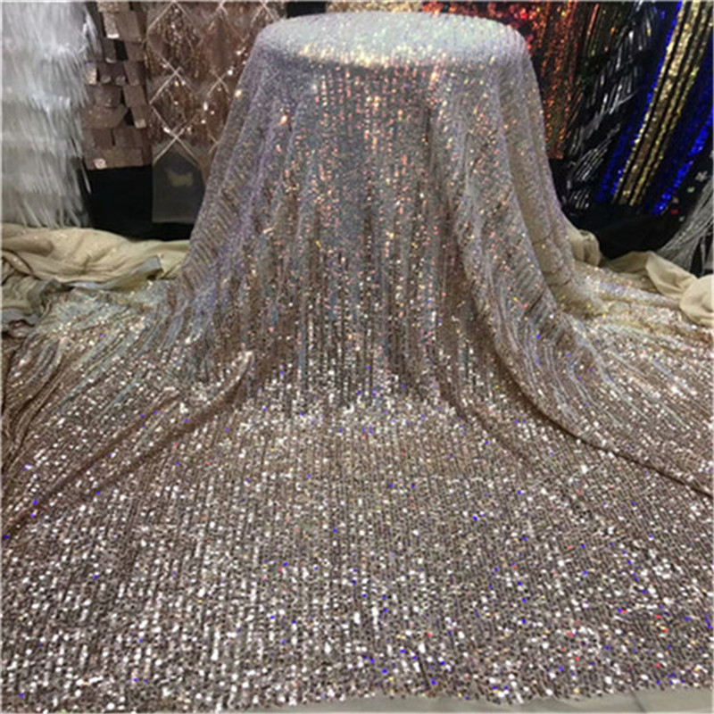 2019 New Design Sequined Embroidered Mesh Lace Fabric For Women Party Dress Lace African Gold Sequins