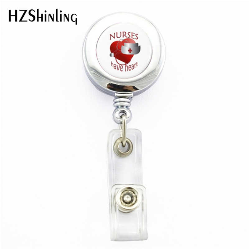 2017 New Nurses Have Heart Badge Holder Doctor Medical Symbo ID Card Holders With Clip Nurse Gift Glass Photo Office Badges Reel