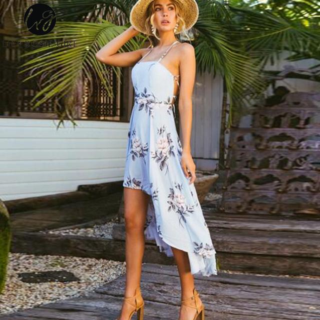 Halter Strapless Floral Print Blue Dress