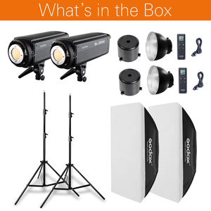 Image 2 - 2 ADET Godox SL Serisi Video Işığı SL 200W Beyaz Versiyonu video ışığı Sürekli Işık + 2x70x100 cm Softbox + 2x280 cm Işık Standı