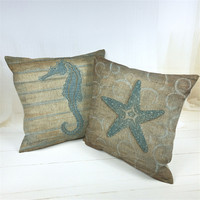 2016 Mediterranean Style Pillowcase Linen Cushion Cover Shedd Aquarium Marine Biology Octopus Pillow Covers Conch hippocampus