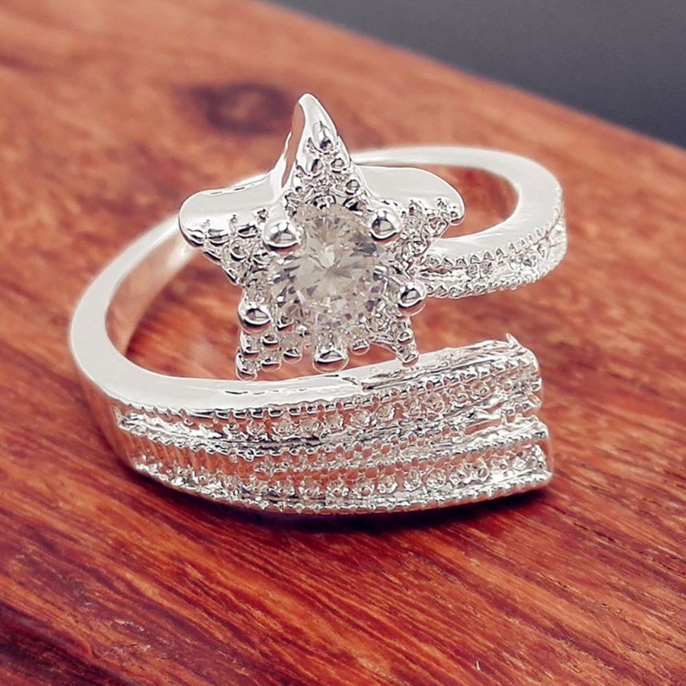 Fashion Charming Jewelry Pentacle Silver Plated Open Ring Drop Shipping