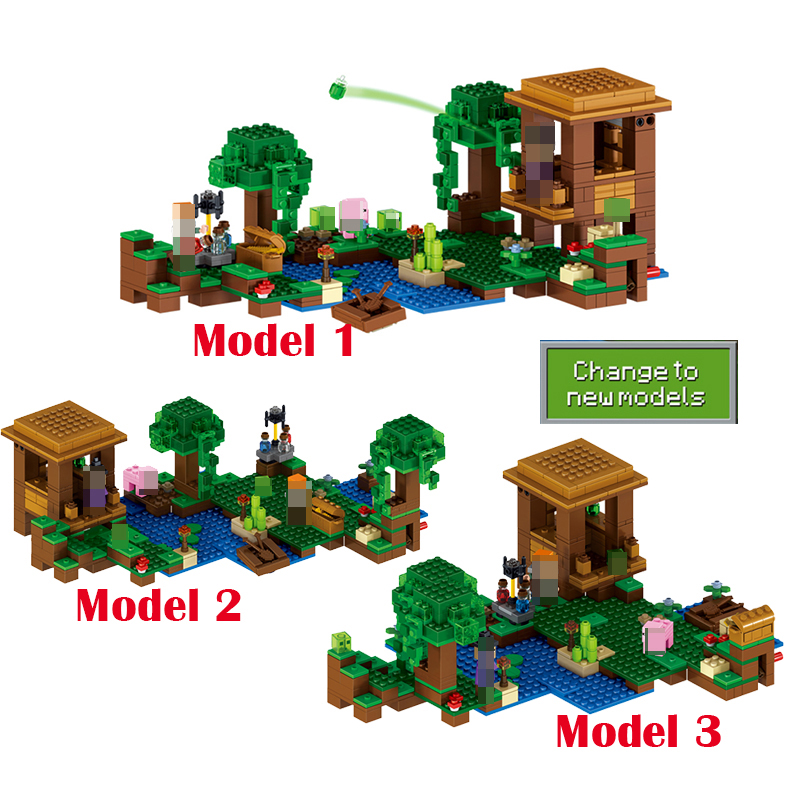 Lepin 500pcs My World Minecraft The Witch Hut anime action figures Building Blocks Bricks Toys For Children gift 21133 brinquedo hot toys 10pcs lot generation 1 2 3 juguetes pvc minecraft toys micro world action figure set minecraft keychain anime figures