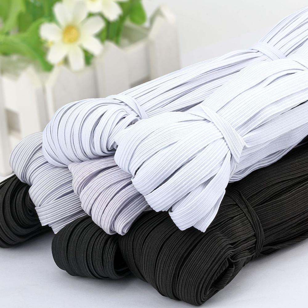10Meter 3/6/9/10/12MM Sewing Elastic Band White Black Polyester Rubber Elastic Cord For Clothes Garment Sewing Accessories