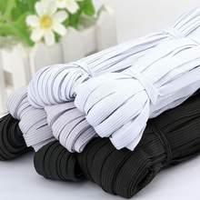 Elástico de borracha para costura, faixa elástica de borracha preta e branca em poliéster com 10 metros 3/6/9/10/12mm cabo para máscaras acessórios de costura de roupa