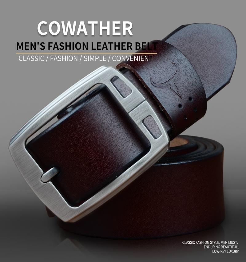 حزام COWATHER جلد طبيعي للرجال 8