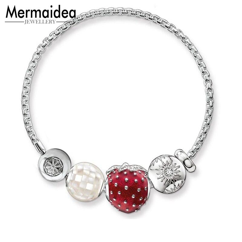 Bracelets de chaîne à maillons de base en argent avec perles de nacre fraise soleil Karma perles bricolage Bracelet bijoux cadeau pour femmes hommes