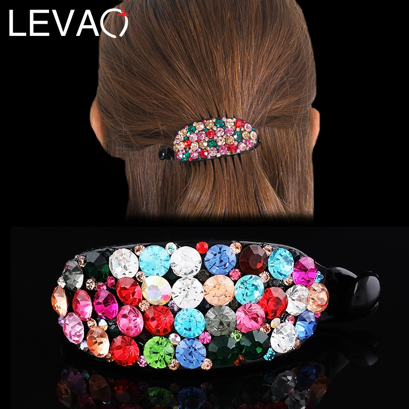 LEVAO Banana Hair Claw Clips Rhinestone Hair Clips For Girls Big Retro Hairpins Women Ponytail Holder Barrette 2019 New Spring