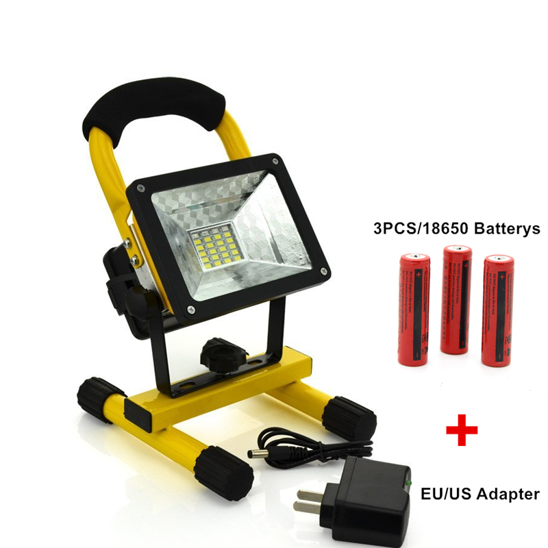 Waterproof 30W LED Flood light Portable SpotLight 24LED Rechargeable Floodlight Outdoor Travel Work Lamp+Charger+3x18650 Battery free shipping led flood outdoor floodlight 10w 20w 30w pir led flood light with motion sensor spotlight waterproof ac85 265v
