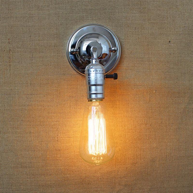 Edison Vintage Loft folyosó króm rövid fali lámpa erkélyre - Beltéri világítás