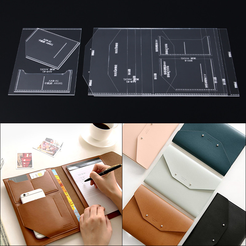 1 Set Acrylic Leather Template Home Handwork Leathercraft Sewing Pattern Tools Accessory Hand Holding Envelope Passport Holder