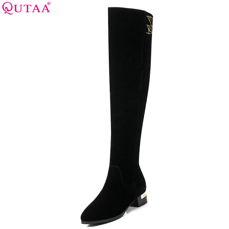 купить QUTAA 2019 Women Over The Knee High Boots Square High Heel Winter Boots Elegant All Match Pointed Toe Women Boots Big Size 34-43 онлайн