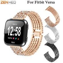ZENHEO 2018 Untuk Fitbit Versa Smart Watch Band Gelang Gelang Watch Band berlian buatan Alloy Crystal Penggantian tali pinggang Jalur