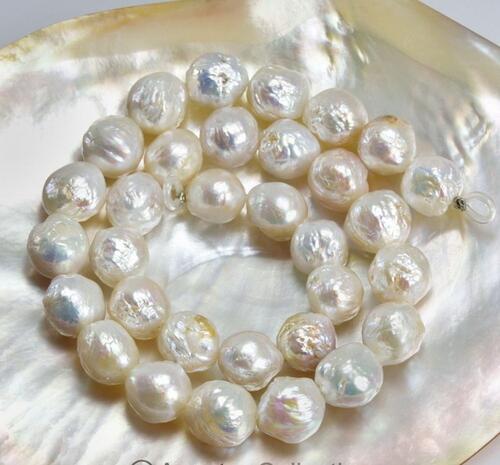 Perles d'eau douce blanches 15 pouces BRIN nucléé Baroque lâche