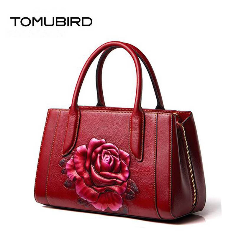 TOMUBIRD 2018 new superior Cowhide Painted embossing women genuine leather bag designer handbags luxury fashion leather art bag 2018 new superior cowhide leather classic designer hand embossing top leather tote women handbags genuine leather bag medium bag