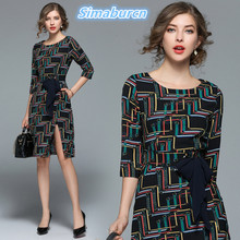 Womens Spring Dresses 2018 Europe and United States Brand Female Sexy Autumn Print Dress Casual Ladies Split With Belt Dress XXL womens spring off the shoulder dresses 2018 europe and united states brand autumn female print dress casual ladies long dress