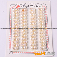 6mm genuine pearl beads half drilling earrings 56 Pairs button shape for earring making pearl beads.