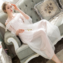 White Cascading Ruffle Nightgowns Women Nightdress Slash Neck Shoulder-straps Adjustable Sleepwear Palace Princess Home Dress