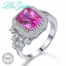 L&zuan 100% Solid 925 Sterling Silver Rings 3.98ct Pink Ruby Ring For Women Square Gemstone Fine Jewelry Engagement Gift