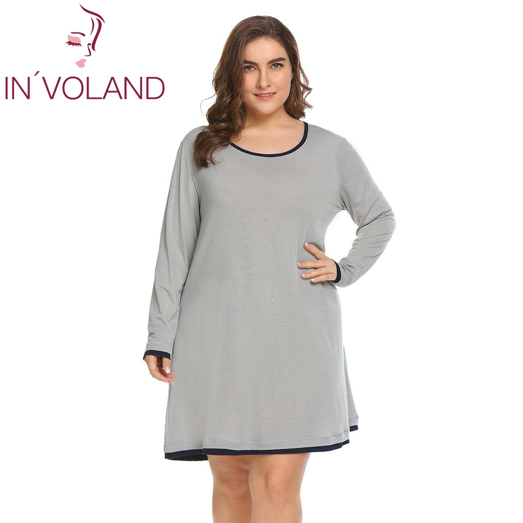 IN'VOLAND Plus Size Women Sleepwear Dress XL-5XL Spring Autumn Lounge   Nightgowns     Sleepshirt   Loose Dresses Vestidos Fit Big Size