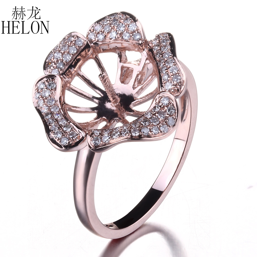 Helon 95112mm Round Pearl Semi Mount Natural Diamonds Ring Setting Solid  10k Rose