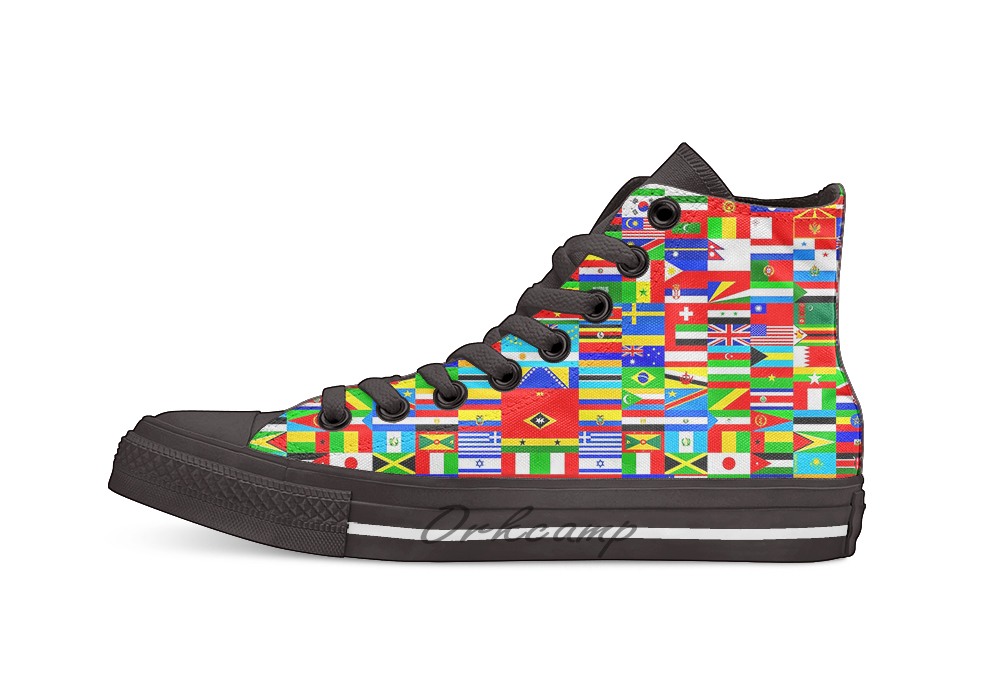 FLAGS OF THE WORLD High Top Canvas Shoes Flat Casual Custom Unisex Sneaker Drop ShippingFLAGS OF THE WORLD High Top Canvas Shoes Flat Casual Custom Unisex Sneaker Drop Shipping