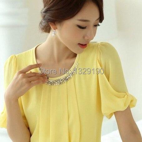 Hot Selling Fashion Formal Office Wear For Women Work Shirt Summer Short Sleeve Chiffon Beading Top Basic Yellow Blouse F2555
