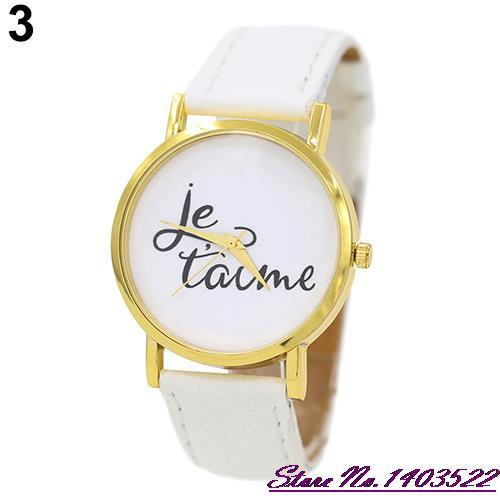 Summer Style   Trendy Style Watch Women's Men's Je T'aime Couple Lover Faux Leather Quartz Analog Wrist Watch 5RVH