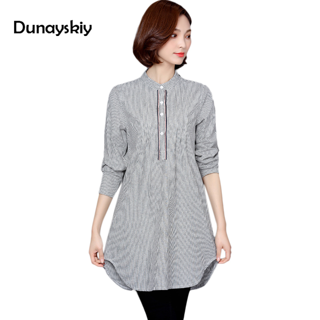 casual new women striped blouse long sleeve embroidery females wear women blouses stand collar long shirts ladies large size 5XL