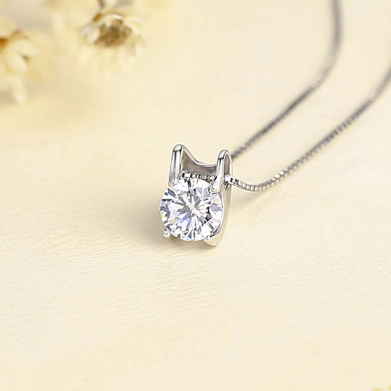 Simple Luxury New Arrival 925 Sterling Silver Pendant Necklace With Top Quality Cubic Zirconia For Women Birthd Gift