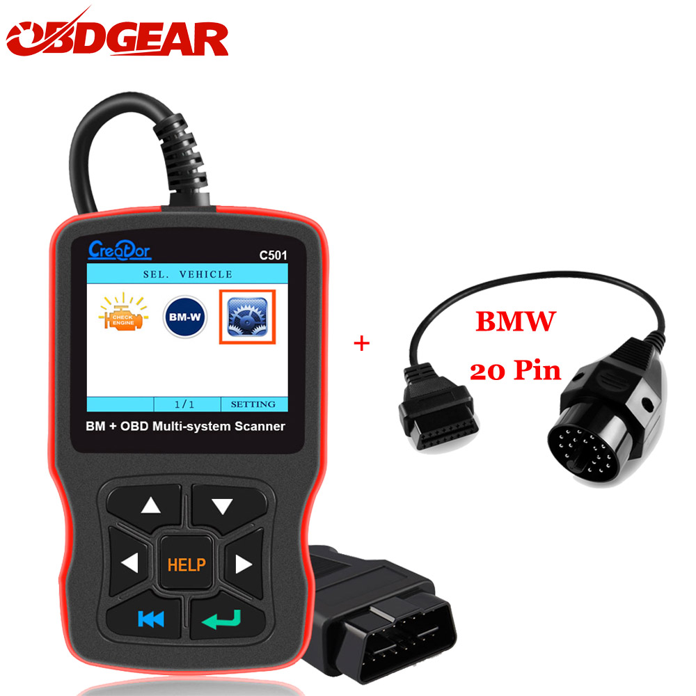 купить Creator C501 Scanner For BMW OBD2 Diagnostic Scanner with BMW 20 Pin Code Reader AC EPS Oil Service Reset EPB ABS Airbag Scanner по цене 4390.6 рублей