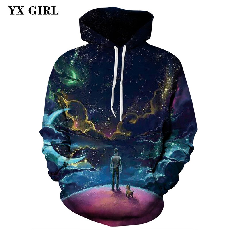 Men/Women Fashion 3D Print Pullovers Hoodie Galaxy Space Hoodies Pocket Hooded Sweatshirts Colorful Harajuku Moletom Feminino