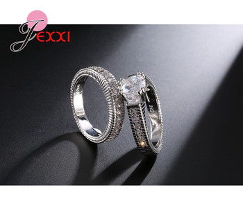 Classical Weeding 925 Sterling Silver 2 PCS Finger Rings For Women Men Super Shining Cubic Zirconia Crystal Accessories 4