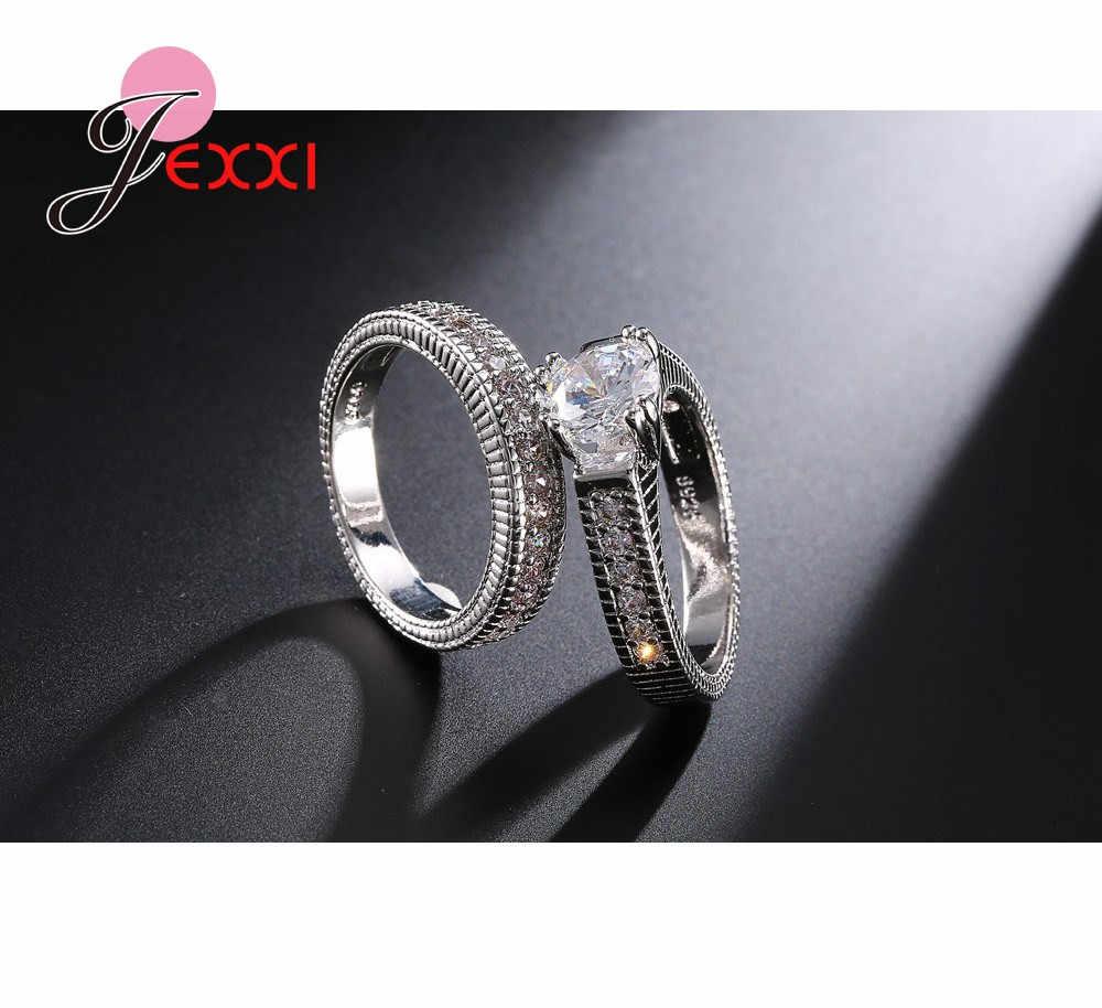 คลาสสิก Weeding 925 เงินสเตอร์ลิง 2 ชิ้นแหวนสำหรับผู้หญิงผู้ชาย Super Shining Cubic Zirconia คริสตัลอุปกรณ์เสริม