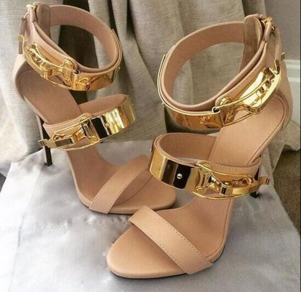 ФОТО 2017 summer women sandals beige high heels women sandals metal decoration pumps zipper big size 35-42 sandalias mujer sandalia
