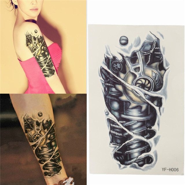 Hot Shoulder Tattoo Stickers Body Art Gold Halloween Colors Mechanical Power Diamond Stickers Durable Stickers