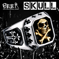 Drop Shipping Sale Stainless Steel Pirate Plated Gold Skull Ring For Man Titanium Steel Boy's Punk Ring BR8-331