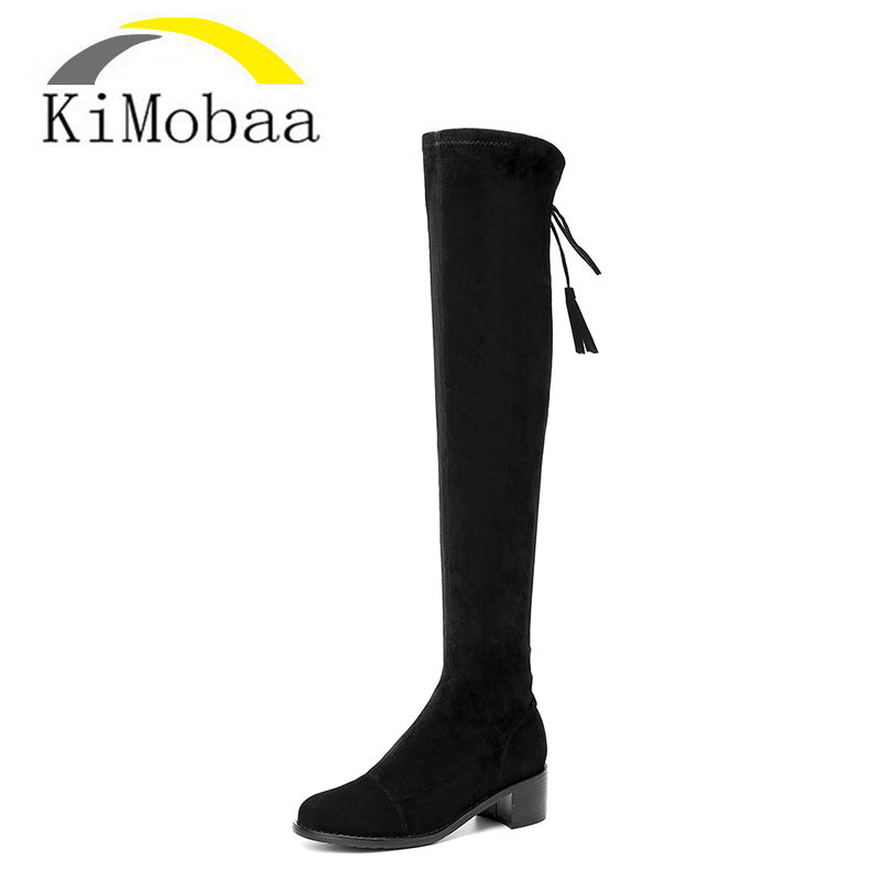 Kimobaa Women Long Boots Stretch Over-the-knee Boots Sexy Thigh High Shoes Sheep Suede Female Booties Genuine Leather TX176 high heel real leather pointy suede slim thigh women boots stretch velvet over the knee sexy extreme stiletto shoes sheepskin