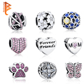 Original 925 Sterling Silver Jewelry Silvery Galaxy Beads Crystal Heart Charms Fit Pandora Bracelet Bangle Authentic Jewelry