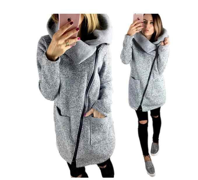 Женская флисовая толстовка на весну и зиму, повседневные длинные толстовки  на молнии, куртка с 226e24146dc