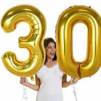 40 inch Large Number figure Balloons 10 20 30 40 50 60 70 80 90 years adult Birthday Anniversary Decoration Supplies gold silver