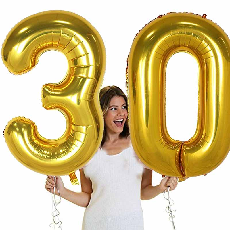 40 inch Large Number figure Balloons 10 20 30 40 50 60 <font><b>70</b></font> 80 90 years adult <font><b>Birthday</b></font> Anniversary Decoration Supplies gold silver image