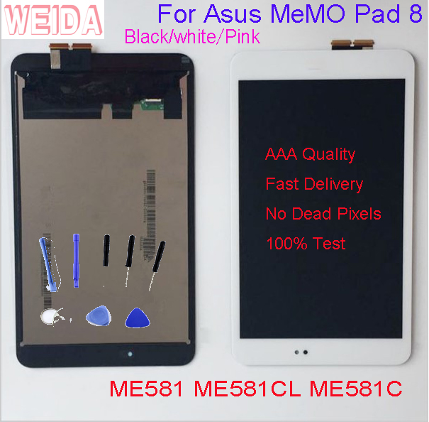 8'' For Asus Memo Pad 8 ME581 ME581C K01H K015 ME581CL LCD Display Touch Screen Digitizer Assembly W Frame Tools No Dead Pixel