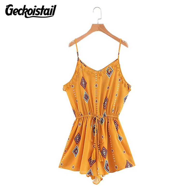 Geckoistail 2018 Summer Rompers Women Jumpsuit Playsuit Tassel Drawstring off shoulder Floral romper Female Overalls bodysuits