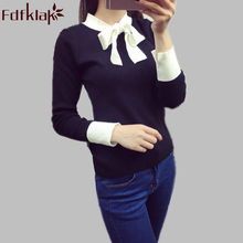 Korean Winter Fashion New Sweater Women 2017 Spring Long-Sleeved Pullover Knitted Sweater Women Knitwear Black/White E0605(China)