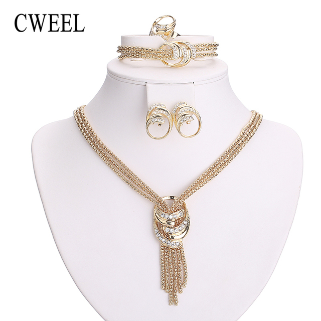 CWEEL Jewelry Sets Women Gold Color African Beads Jewelry Set Imitation Crystal