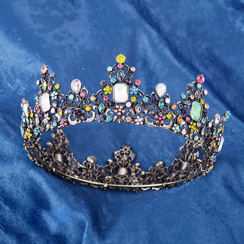 ESERES Vintage Baroque Queen Crown Full Round Ancient Gold Mixed Color Crystal Bridal Crown For Women Wedding Hair Accessories